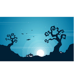 Halloween at night scenery background vector
