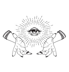 Hand-drawn eye of providence in hands of witch vector