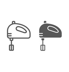 hand mixer line and glyph icon kitchen vector image