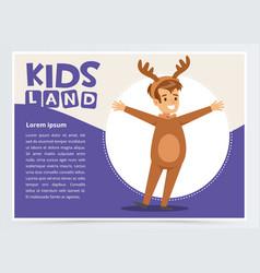 Happy boy dressed as elk cute kid in christmas vector