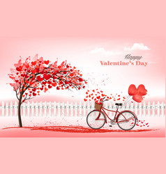 holiday valentines day background tree vector image