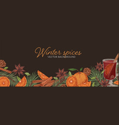 horizontal banner with hot winter mulled wine vector image