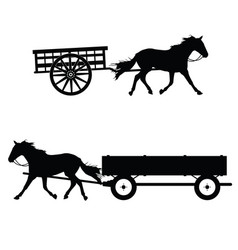 Horse with carriage silhouette vector