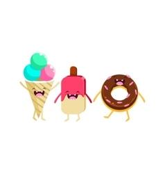 Ice-cream And Doughnut Cartoon Friends vector