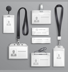 Identification cards badges samples set vector