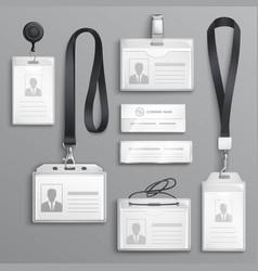 Identification cards badges samples set vector