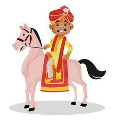 Indian groom cartoon character vector