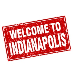 Indianapolis red square grunge welcome to stamp vector