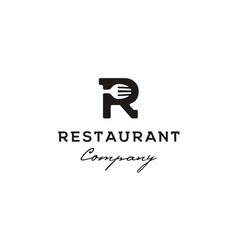 initial letter r with spoon fork restaurant logo vector image