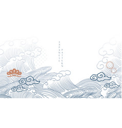 Japanese background with hand drawn wave vector