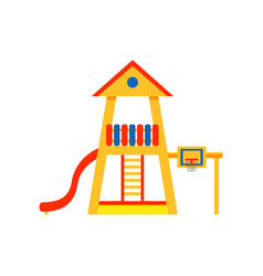 kids playground in house shape with plastic slide vector image