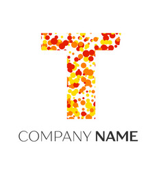 letter t logo with orange yellow red particles vector image