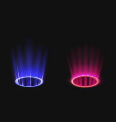 Magic portals with blue and pink light effect vector