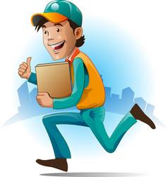 Mascot courier service vector