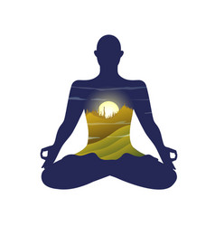 Monk silhouette practising yoga lotus pose vector