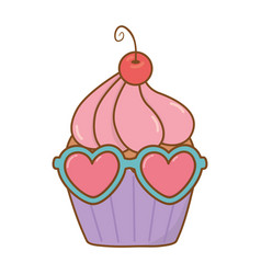 Muffin with heart sunglasses vector