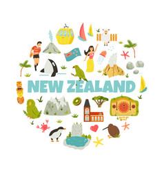 new zealand abstract design with national symbols vector image