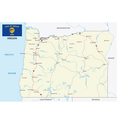 oregon road map with flag vector image