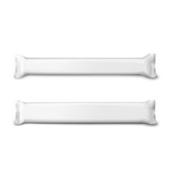 Realistic 3d set long white snack sachet vector
