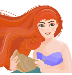 Red haired girl mermaid underwater clip art vector