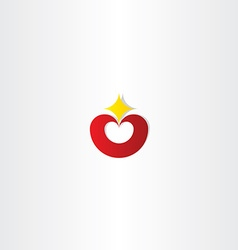 Red heart with star logo icon vector