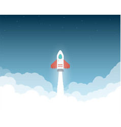 rocket to space clouds vector image