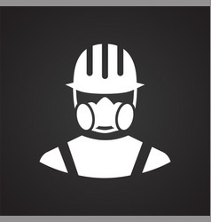 Safety gas dust protection mask icon on black vector