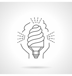 Saving energy lamp flat line icon vector image