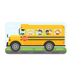 School bus kids transport vector