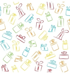 Seamless pattern with colorful funny gift boxes vector image