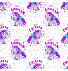 seamless pattern with cute cartoon purple unicorn vector image