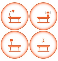 Set interior icons with table lamp vector