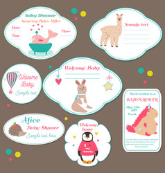 Set of baby shower badges invitation tags with vector