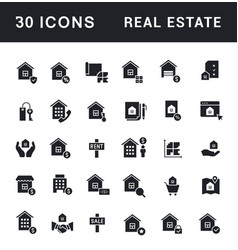 set simple icons real estate vector image