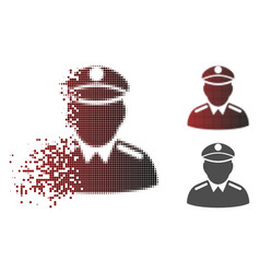 Shredded dotted halftone colonel icon vector