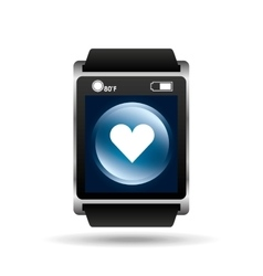 smart watch blue screen heart icon media vector image