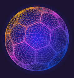 soccer ball colorful wireframe grid vector image