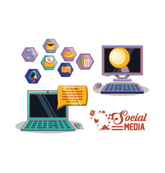 social media set icons vector image