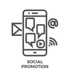 social promotion line icon vector image