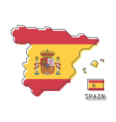 Spain map and flag modern simple line cartoon vector