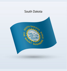 State of south dakota flag waving form vector