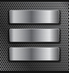 steel plates on metal perforated background vector image