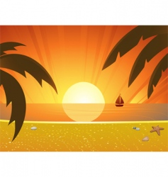 summer sunset and sail boat vector image
