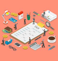 tax payment flat isometric concept vector image