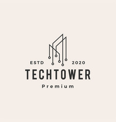 tech tower building hipster vintage logo icon vector image
