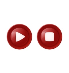 Two red glossy buttons vector