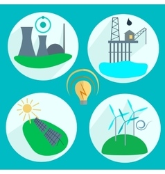 Types of energy production vector image