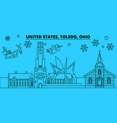 united states toledo winter holidays skyline vector image