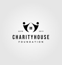 vintage charity house human people water drop vector image