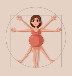 Vitruvian pregnant woman cartoon vector